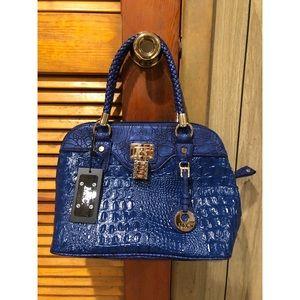 MC Blue Leather Crocodile Bag